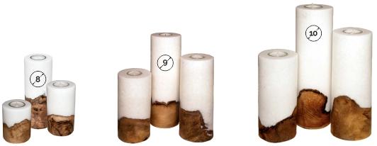 Kerzen rund mit Holzeinlage