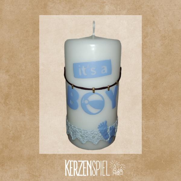 Kerze zur Geburt - It's a boy