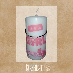 Kerze zur Geburt - It's a girl