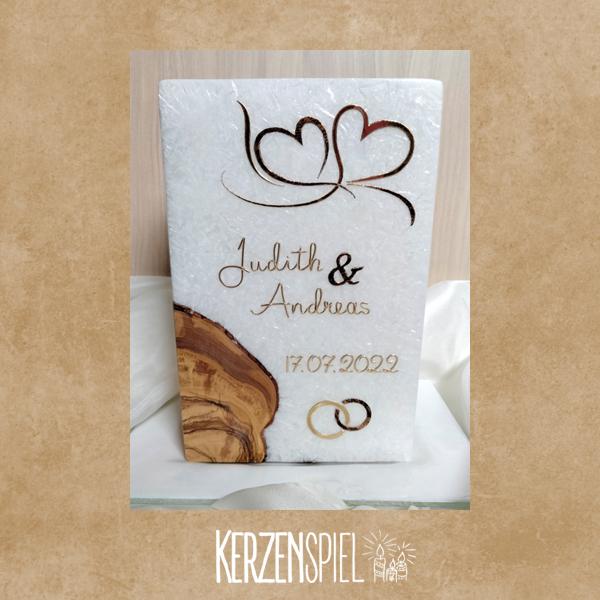 Hochzeitskerze mit Echtholzeinlage Doppelherz