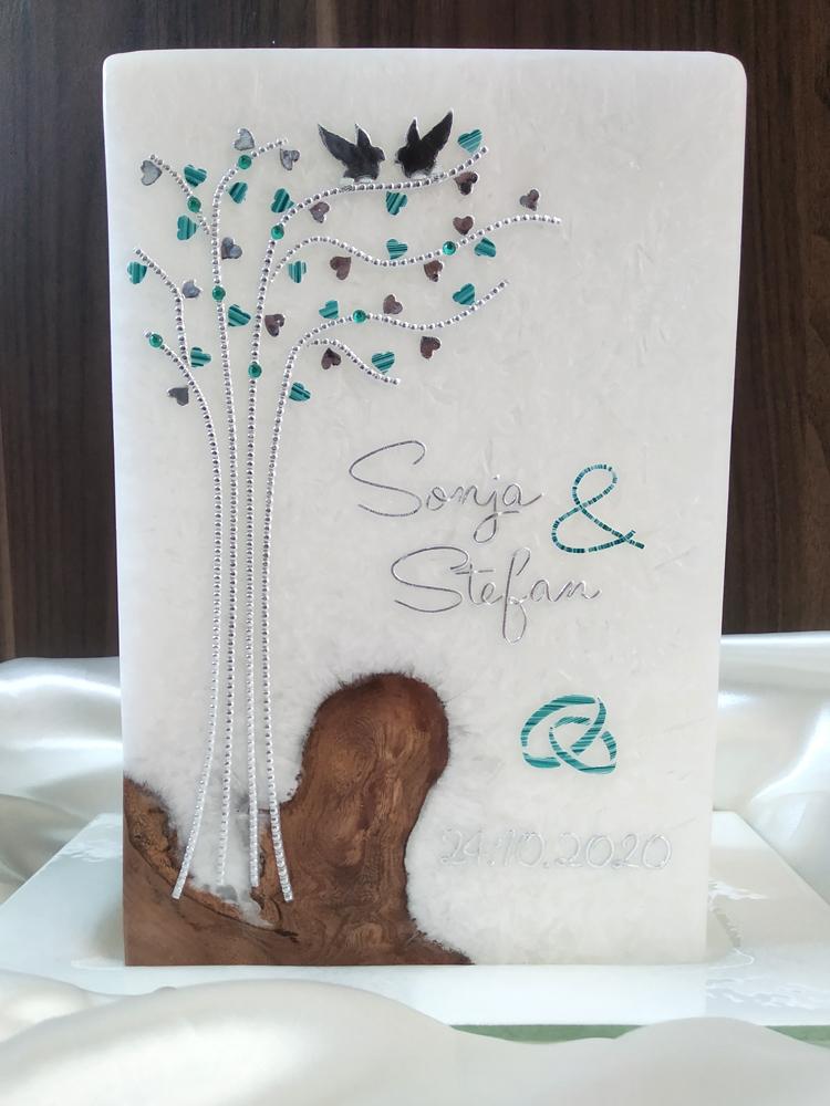 Hochzeitskerze mit Echtholzeinlage