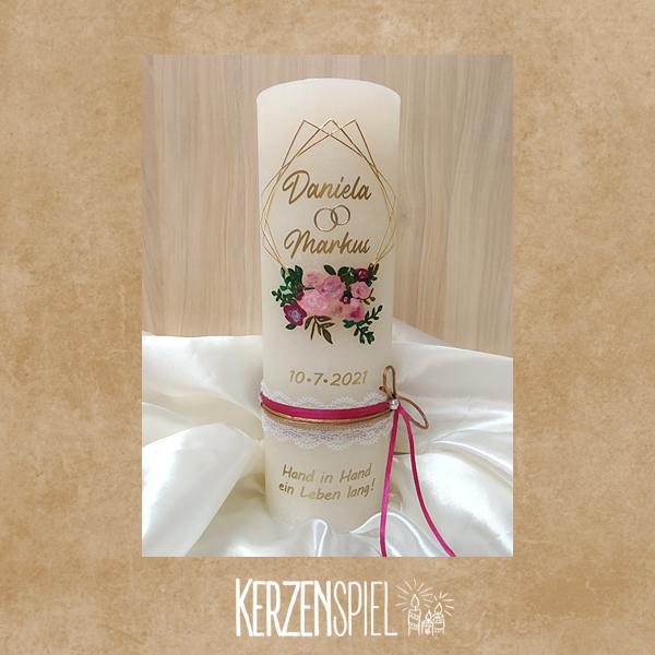 Hochzeitskerze Rustik Blumen