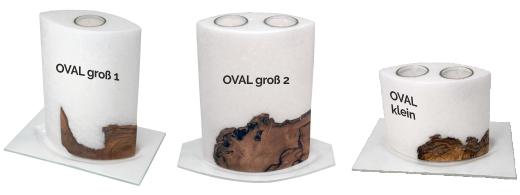 Kerzen oval mit Holzeinlage